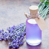 Bottle and lavender Wallpaper