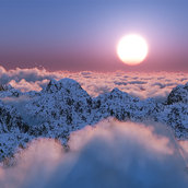 The sun on the clouds wallpaper